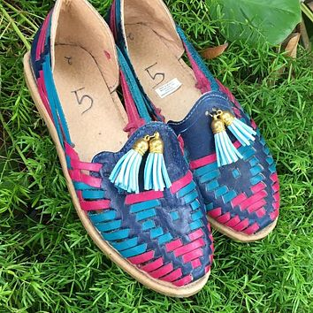 Mexican Handmade Leather Sandals Blue and Pink