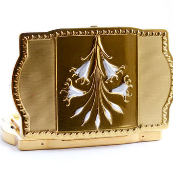 Vintage Van Ace Gold Tone Compact - 1950s Fifth Ave New York Powder Vanity Make Up Case Box / White Enamel Flower