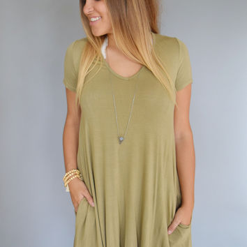 Fireside Tee Shirt Dress Sage