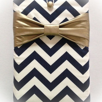 "Macbook Air 11 Sleeve MAC Macbook 11"" inch Laptop Computer Case Cover Navy & White Chevron with Metallic Gold Bow"
