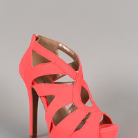 Qupid Nubuck Neon Cut Out Open Toe Platform Heel