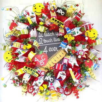 Back To School Wreath, Teacher Wreath, Door Wreath, Wall Wreath, Classroom Wreath, Gift Wreath, Deco Mesh Wreath, Any Season Wreath