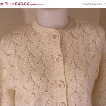 On Sale Vintage 60s Sheer Open Knit Cropped Crocheted Sweater Cardigan