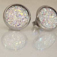 Crystal Rainbow Stud Earrings, White Faux Druzy Earrings, Glitter Earrings, Iridescent Earrings, Holiday Gift Ideas, Stocking Stuffers