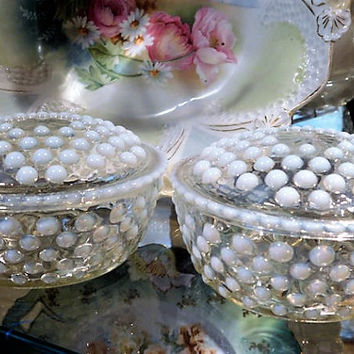Anchor Hocking Moonstone Glass White Opalescent Hobnail Pair of Powder Jars Puff Box Vanity 1940s 40s Mid Century Home Decor Cottage Chic