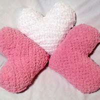 Crochet Heart Pillow,  Soft Fuzzy Pillow, Valentine's Day, Crochet Heart Plush
