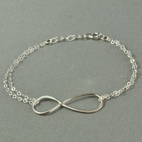 Double Chain INFINITY Bracelet, 925 Sterling Silver, Simple, Pretty, Metal Charm Bracelet