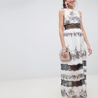 ASOS DESIGN Lace Panel Maxi Dress In Vintage Floral at asos.com