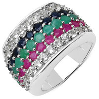 3.94 Carat Genuine Multi Stone .925 Sterling Silver Ring