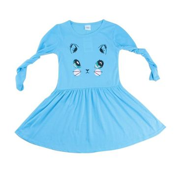 Fashion Princess Girls Cartoon Cat Printed Cotton Dress Baby Girl Long Sleeve Party Mini Dresses
