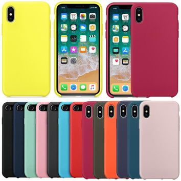 Have LOGO Original Silicone Case For Apple iPhone X 5 5S SE Cover Case For iPhone 7 8 6 6s plus Case Coque With Retail Box