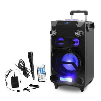 Portable Bluetooth Karaoke Speaker System - PA Loudspeaker with Flashing DJ Lights, Built-in Rechargeable Battery, FM Radio, MP3/USB/Micro SD