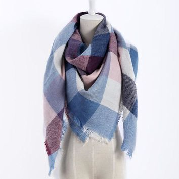 ESBU3C New color plaid Scarves Winter Fashion Woman's Oversized Cashmere Shawl Wrapped in Warm Blankets Square Scarf For women