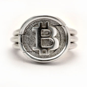 Bitcoin signet puzzle ring in Sterling Silver/Gold