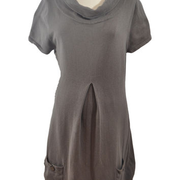 Taupe Cowl Neck Short Sleeved Dress by RIPE Maternity