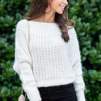 Feeling Fuzzy Sweater, White