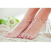 Bridal Wedding Beach Pearl Beaded Barefoot Sandal Foot Jewelry Ankle Bracelet