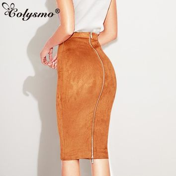 Colysmo Women High Waisted Two-way Zipper Through Autumn Suede Midi Skirt Winter Knee Length Stretch Pencil Skirts Winter Skirts