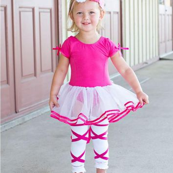 Ruffle Butts Spring Dance Short Sleeve Fuchsia & White Tutu Leotard