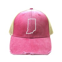 Indiana Hat - Distressed Snapback Trucker Hat - Indiana State Outline - Many Colors Available