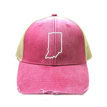Indiana State Outline Trucker Hat- Distressed Snapback