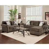 Exceptional Designs Living Room Set in Elizabeth Ash Microfiber