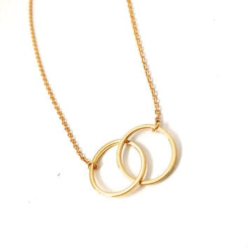 Min1pc Gold and Silver Infinity Double Circles Necklace for Girls Interlocking Circles Pendant Necklace XL184