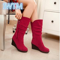 Women Mid Calf Wedges Boots Slip On PU Leather Autumn Spring Boots