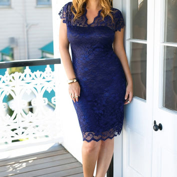 Navy Floral Lace Sheath Dress