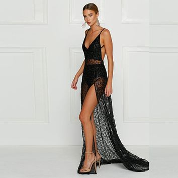 Fashion Backless Hollow V-Neck Sleeveless Strap Split Perspective Lace Maxi Dress Evening Dress
