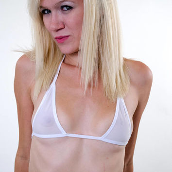 White Sheer See Through Micro Bikini Top w/ White Trim