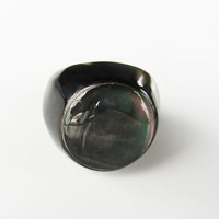 Black round ring, cameo, fashion, signet, unique, abalone, organic, horn