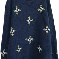 Sweet Floral Ribbed Knitted Long Sleeve Pullover Sweater
