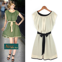 Summer Women's Fashion Ruffle Butterfly Chiffon Corset Slim Dress One Piece Dress [6343382785]