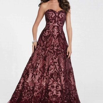 Tiffany Designs - 16299 Floral Sequined Tulle Ruffled A-line Dress
