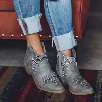 Low Chunky Heel Pointed Toe Embroidery Ankle Boots