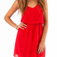 Red V-Neck Chiffon Waist Dress