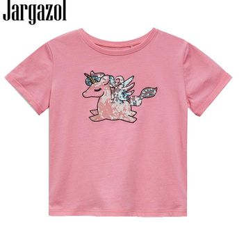 Jargazol Summer Top Girls T Shirt Unicorn Party Baby Girl Clothing Brand 2018 Toddler Cartoont Shirt With Sequins Tshirt 18M-6T