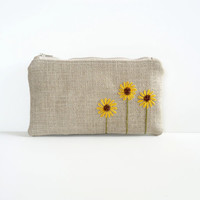 Sunflower Burlap Zipper Pouch  Hand by JuneberryStitches on Etsy
