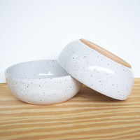 Glossy White Speckled Stoneware Pottery Bowls - Set of 2