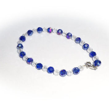Cobalt blue clear glass crystal anklet / ankle bracelet