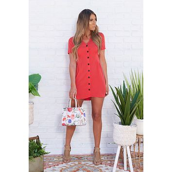 By The Dozen Button Up Dress (Red)