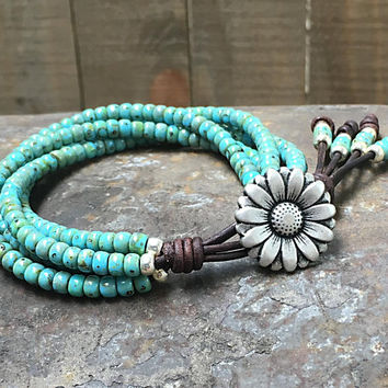 Beaded Leather Wrap Bracelet/ Turquoise Seed Bead Bracelet/ Boho Wrap Bracelet/ Leather Bracelet/ Bohemian Bracelet/ Beaded Leather Wrap.