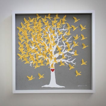 Love Birds Wedding guest book - Signature tree guestbook alternative for Modern wedding /Gray and Yellow Wedding / Love Birds Tree Guestbook