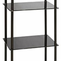 Convenience Concepts Designs2Go Midnight Classic 4-Tier Glass Tower, Black Glass