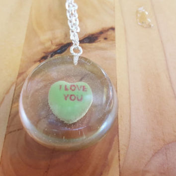 Necklace Conversation Heart Pendant Casted Candy in Resin Valentine's Day I Love You Green Sweetheart