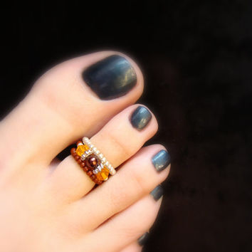 Stacking Toe Rings - Copper - Brown - Topaz - Silver - Stretch Bead Toe Ring