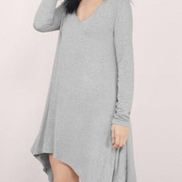 Gray V Neck Asymmetric Hem Long Sleeve Dress