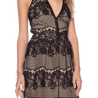 Black Sheer Floral Lace Grid Cut-Out Sleeveless Dress with Zip Up Neckline