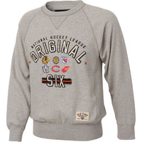 Original Six Heather Grey Old Time Hockey Lansing Crewneck Sweatshirt